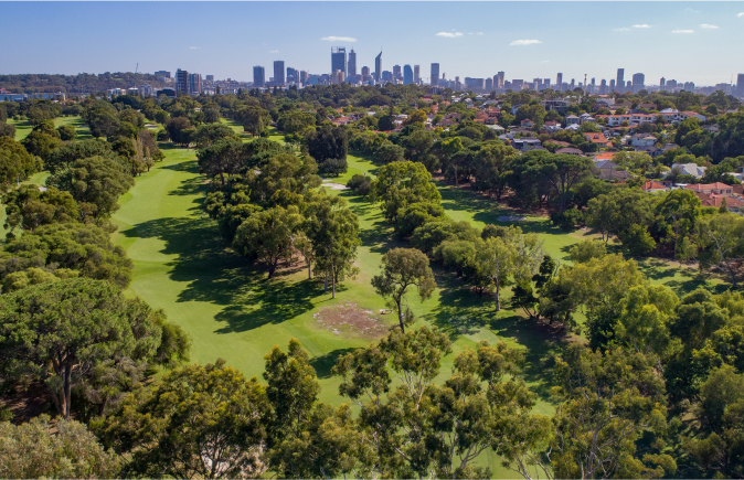 The city of Perth as seen from the south