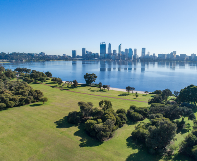The city of Perth as seen from across the Swan River