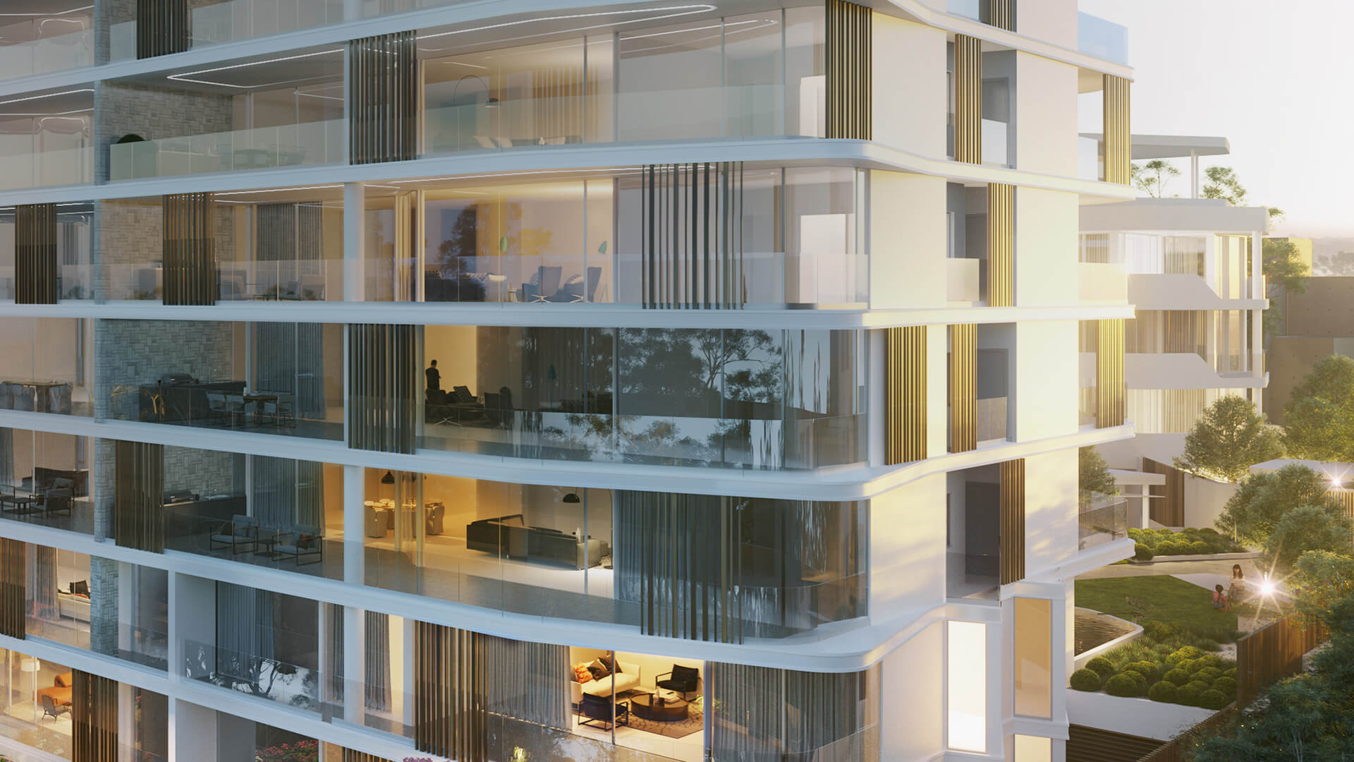 Building exterior with views inside apartments