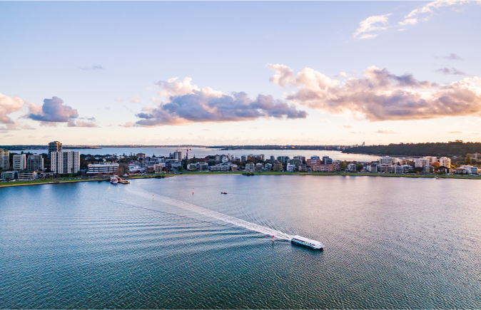 A ferry crosses the Swan River