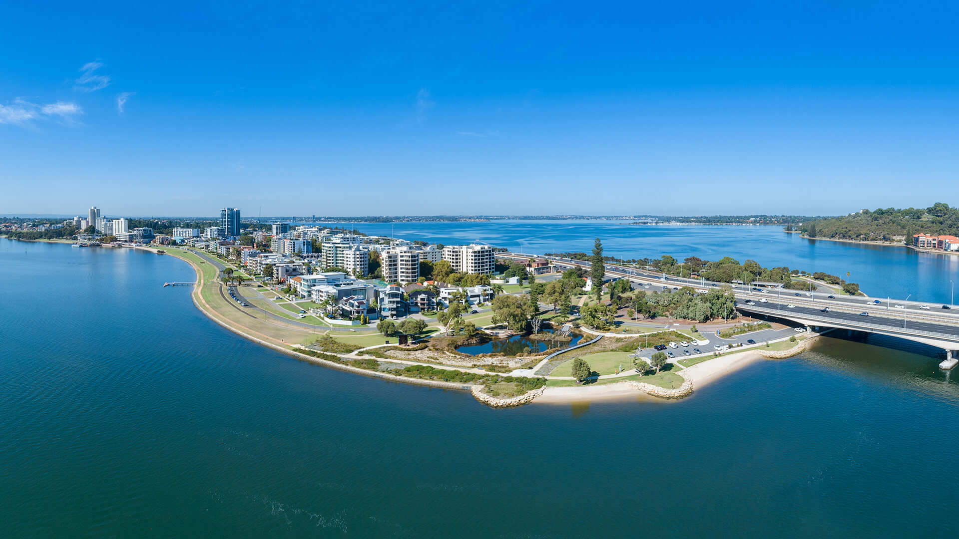 Aerial view of South Perth and the Swan River