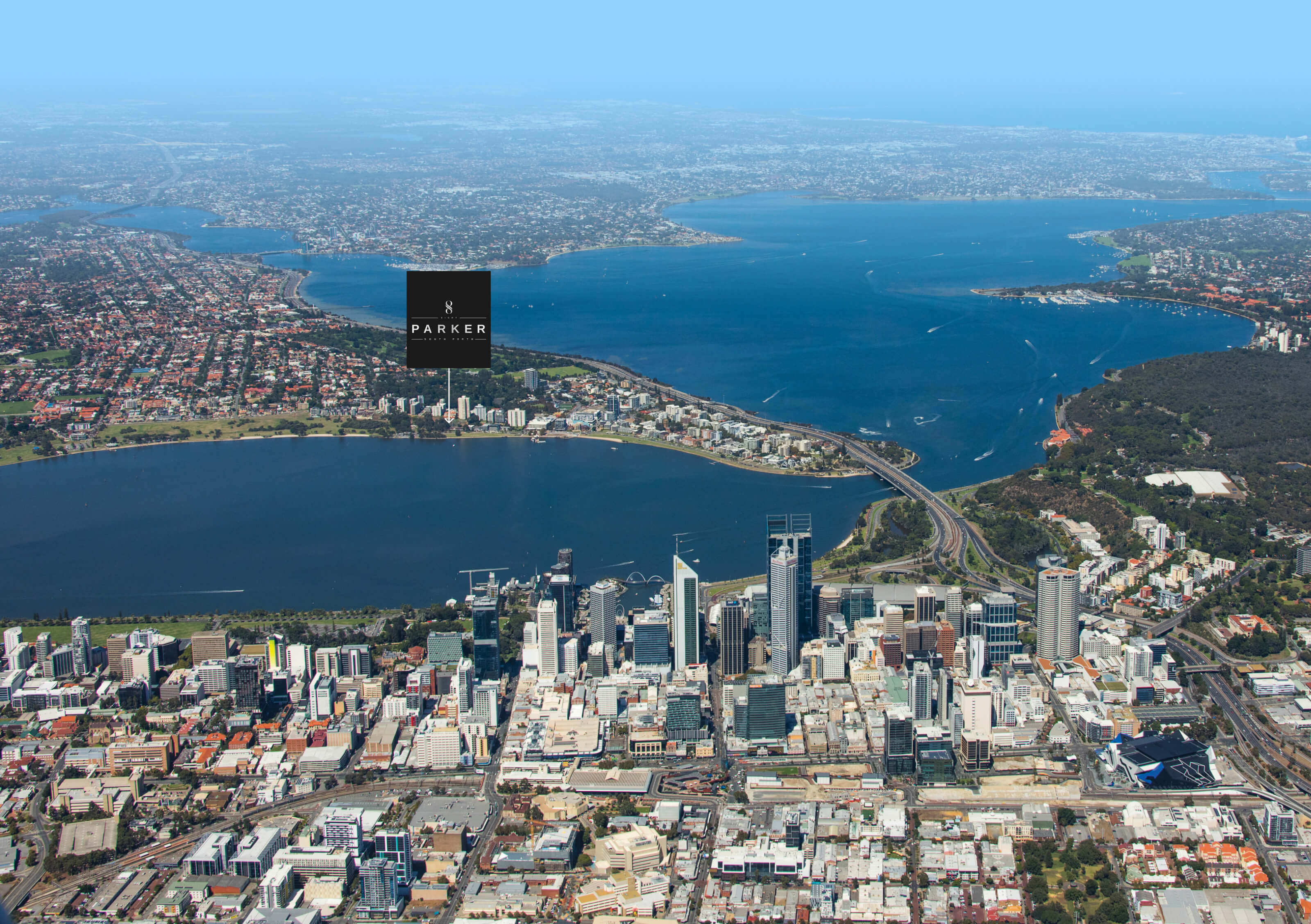 Aerial shot looking south from Perth to the developments location on the Swan River foreshore