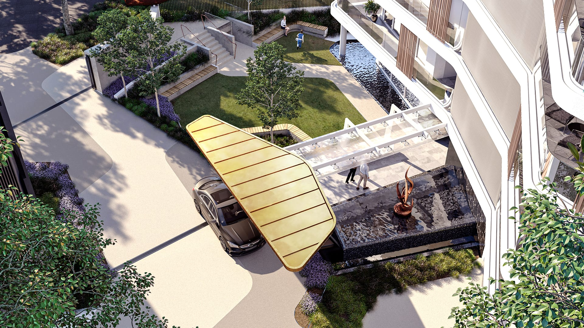 Building entrance with garden and water features