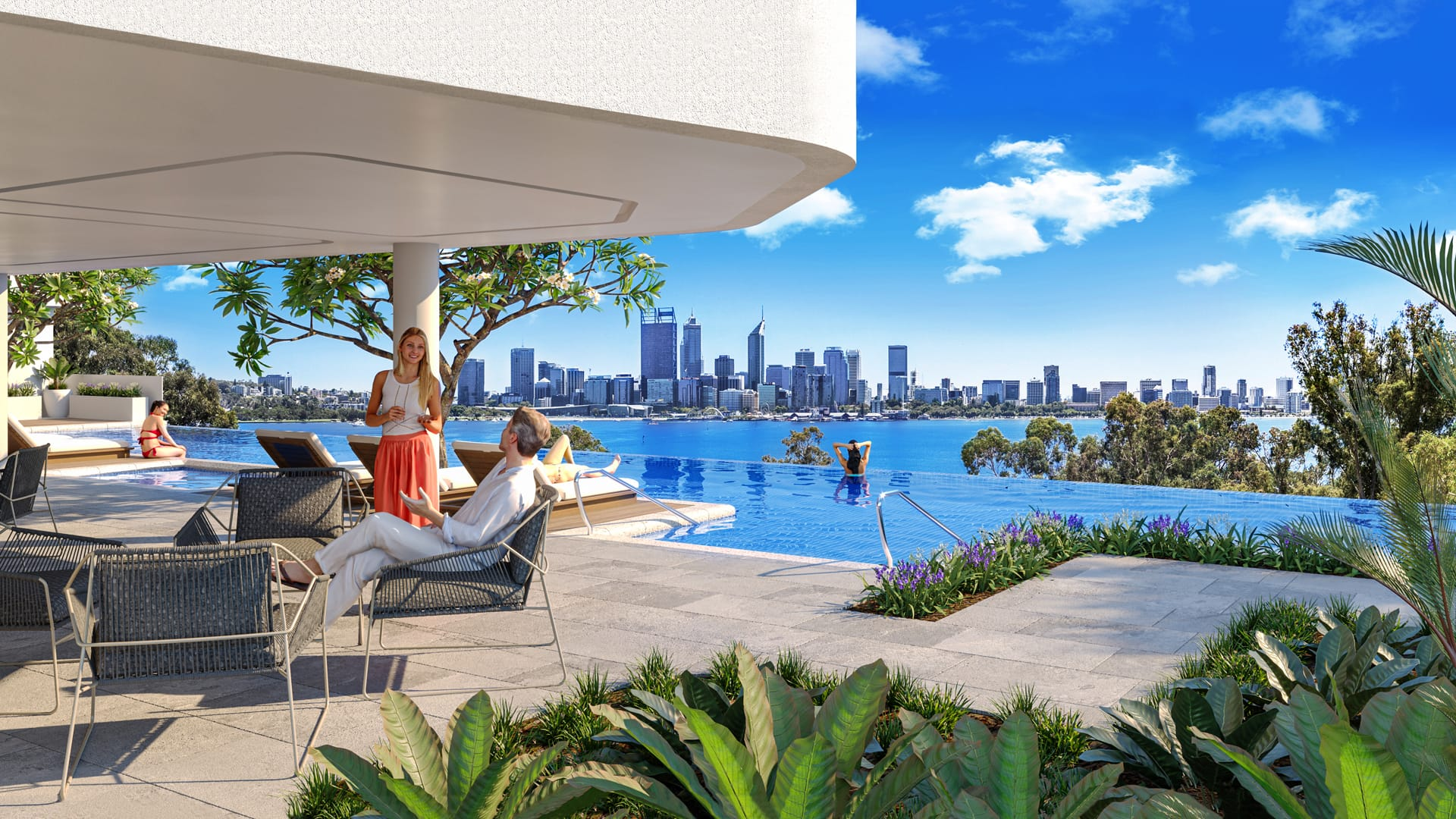 Balcony and swimming pool overlooking Perth city
